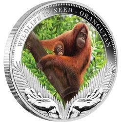 5849 # TUVALU 1 Dollar 2011 Prata Proof Ø41mm Série WWF II - Orangotango