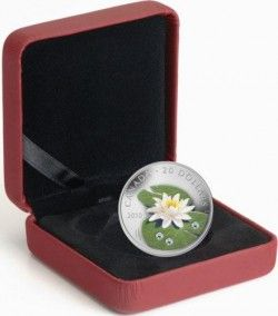 5871 # CANADA $20 2010 Prata Proof Ø38mm Flor de Lis com 3 Cristais SWAROVSKI