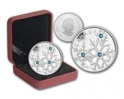 5883 # CANADA $20 2011 Prata Proof Ø38mm Montana Azul Com 3 Cristais SWAROVSKI