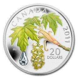 5884 # CANADA $20 2011 Prata Proof Ø38mm Gota de Cristal SWAROVSKI