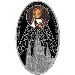 "5916 # NIUE $1 2011 PRATA PROOF Ø30x45mm Série Catedrais ""BARCELONA"""