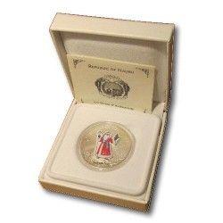5938 ¤RARA¤ NAURU $10 2008 PRATA Ø38mm Moeda 3D Natal - Papai Noel