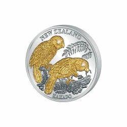 5953 # LIBERIA $10 2006 Prata Proof Ø38mm c/ Ouro e olhos de diamante Fauna da Nova Zelândia