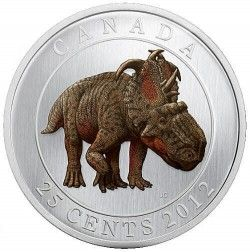 5964 Canada 25 Cents 2012 Pachyrhinosaurus :: moeda que brilha no escuro!
