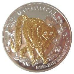 5983 # LIBERIA $10 2004 Prata Proof Ø38mm c/ Ouro e olhos de diamante Fauna de Madagascar