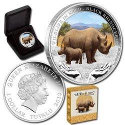 6016 # TUVALU $1 2012 Prata Proof Ø41mm Série WWF IV: RINOCERONTE NEGRO