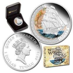 6018 # Tuvalu 1$ 2012 Prata Proof Ø41mm Série Navios que mudaram o Mundo - Cutty Sark