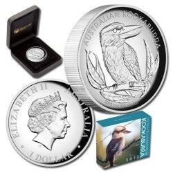 6019 # AUSTRALIA 1 Dollar 2012 Prata Proof Ø32mm KOOKABURRA especial em alto relevo.