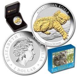 6040 # Australia $1 2012 Prata FC Ø41mm Koala com detalhe dourado