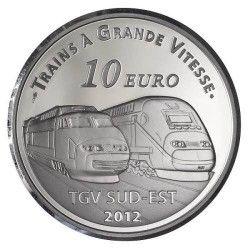 6061 # França 10 Euros 2012 Prata Proof Ø37mm Série Trens: Estação  Lyon Saint Exupéry