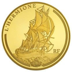 6064 # França 50 Euros 2012 Ouro Proof Ø22mm Grandes Navios Franceses: L´Hermione