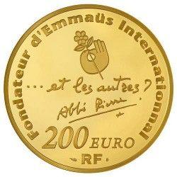 6067 # França 200 Euros 2012 Ouro Proof 37mm Centenário de Abbé Pierre