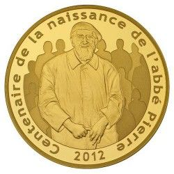 6068 # França 50 Euros 2012 Ouro Proof Ø22mm Centenário de Abbé Pierre