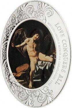 6116 # ILHAS COOK $5 2012 Prata Proof Série ANJOS: Vitoria do Amor - Caravaggio