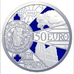 6153 França 50 Euros 2013 Prata 163 gr. Proof colorido UNESCO - 850 anos de Notre Dame de Paris