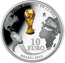 6167 Espanha 10 Euros 2012 Prata Proof  Comemorativa Copa 2014 no Brasil!