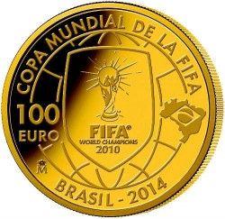 6169 Espanha 100 Euros 2013 Ouro Proof  Comemorativa Copa 2014