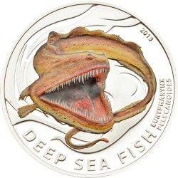 6205 ILHAS PITCAIRN 2$ 2013 PRATA PROOF Série Criaturas abissais: Enguia Pelicano Tiragem: 1000 pçs!