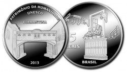 6217 # 5 Reais Prata 40 mm DIAMANTINA - Patrimônio da humanidade - UNESCO