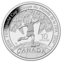 6238 Canada $10 2014 Prata Proof  Copa do Mundo 2014 Brasil