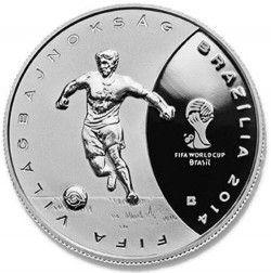 6239 Hungria 3.000 Forint 2013 Prata Proof  Copa do Mundo 2014 Brasil