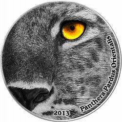 6254 Congo 2000 Francos 2013 Prata Serie olhos da Natureza Leopardo Pardus Orientalis