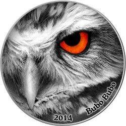 6255 Congo 2000 Francos 2014 Prata Série Olhos da Natureza Aguia-Coruja