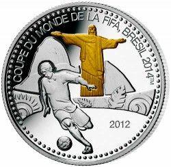 6275 ::RARA:: Togo 2012 Prata Copa do Mundo 2014 Rio de Janeiro - com detalhe em ouro
