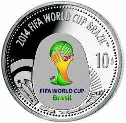 6280 ILHAS Virgens Britanicas 10 $ 2012 Prata Copa do Mundo 2014 Logo