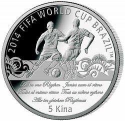 6281 Papua Nova Guine 5 Kina 2013 Prata Copa do Mundo 2014 Oficial Slogan