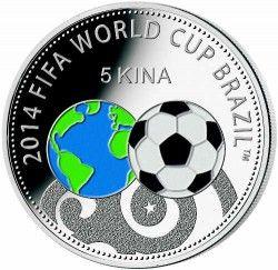 6290 Papua Nova Guine 5 kina 2013 Prata Colorida Copa do Mundo 2014