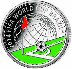 6291 Belarus 10 Rublos 2013 Prata Copa do Mundo 2014 Colorida
