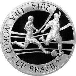 6298 Kazaquistão 2013 Prata Copa do Mundo 2014 DOIS JOGADORES de FUTEBOL