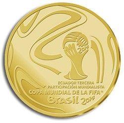 6312 Equador 1 Sucre 2014 Ouro Copa do Mundo 2014 Apenas 500 exemplares no mundo!!