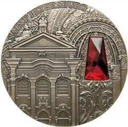 6321 Niue 2 Dolares 2014 Prata 2 oz Palácio de Inverno São Petersburg c/ Cristal Swarovski