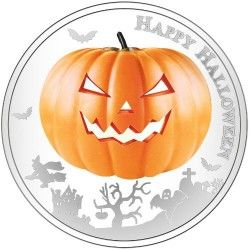 6323 :: RARA :: Niue 2 $ 2014 Prata proof 1oz Halloween - Moeda que brilha no escuro! Veja!