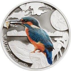 6330 Andorra 5 Diners 2014 Prata Proof  Pássaro Colorido European Kingfisher