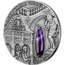 6338 Niue 2$ 2015 Prata 2oz Palácio de Inverno Belvedere VIENA c/ Cristal Apenas 666 Exemplares!