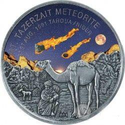 6397 Níger 1000 francos 2016 prata 1 oz Fragmento do meteorito Mount Tazerzait - apenas 699 no mundo !
