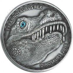 6398 Burkina Faso 1000 francos 2016 prata Tiranossauro Rex apenas 500 exemplares no mundo !