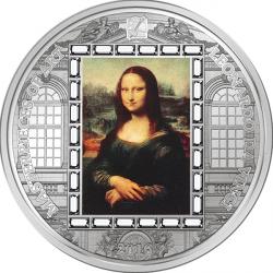 6416 Ilhas Cook 20$ 2016 prata 3oz Ø 55mm Mona Lisa - Arte de Leonardo da Vinci - com 24 cristais swarovski