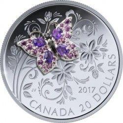 6468 Canadá 20$ 2017 prata proof BORBOLETA com inserção de pedras preciosas