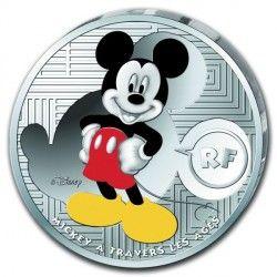 6490 França 10 euros 2016 prata proof Mickey através dos tempos