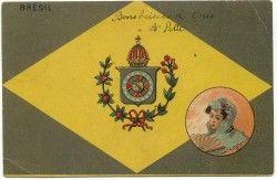 CP0009 Cartão Postal BRASIL 1904 Bandeira e brazão antigos