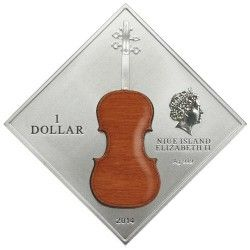 6251 Niue $1 2014 Prata 1oz Violino STRADIVARIUS moeda com fragmento de madeira autêntica! Apenas 999pcs no Mundo !!