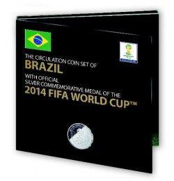 6259 *EXCLUSIVO* Set oficial Copa do mundo 2014 cartela c/ moedas do Brasil UNC e medalha de prata!