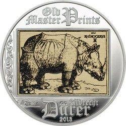 6163 Ilhas Cook 5 Dollars 2013 Prata Proof Albrecht Durer - Rinoceronte