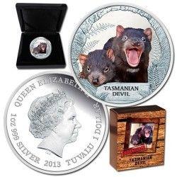6193 Tuvalu 1 Dollar 2013 Prata Proof  Diabo da Tasmânia