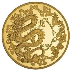 5754 # FRANÇA 50 Euros 2012 Ouro Proof Ø22mm ANO DO DRAGÃO 2012