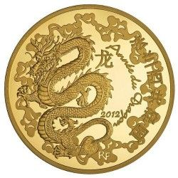 5753 # FRANÇA 200 Euros 2012 Ouro Proof Ø37mm ANO DO DRAGÃO 2012